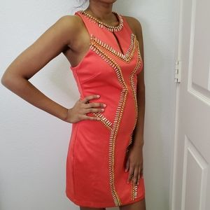Bebe Coral Sequin Jeweled Dress